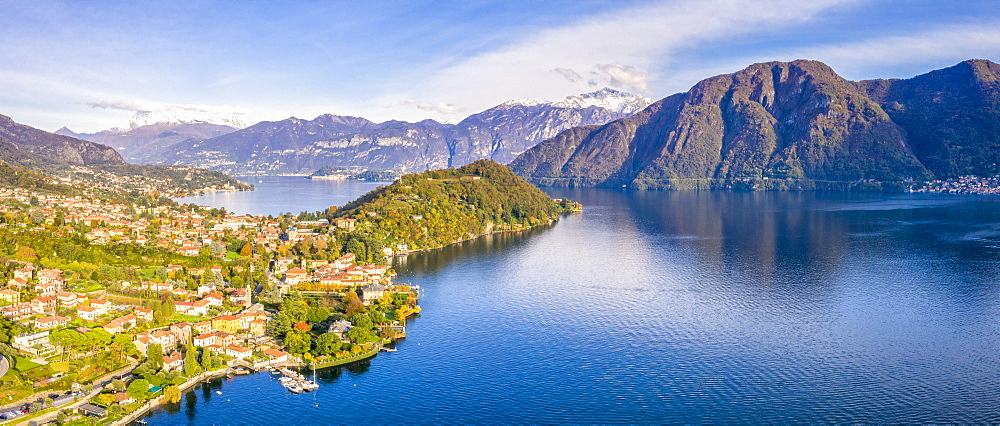 Aerial view of Tremezzina villages in autumn, Lake Como, Lombardy, Italian Lakes, Italy, Europe