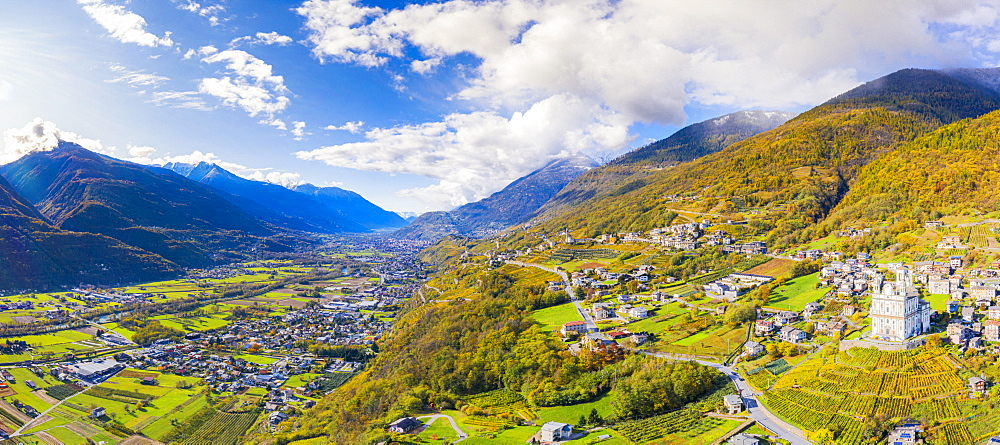 Aerial view by drone of Valtellina in autumn, Lombardy, Italy, Europe - 1269-633
