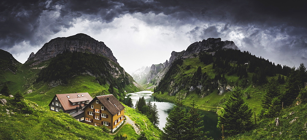 Thunderstorm coming at Bollenwees refuge, Canton of Appenzell, Alpstein, Switzerland, Europe - 1269-673