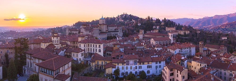 San Vigilio hill with historic center of Upper Town from above during sunset, Bergamo, Lombardy, Italy, Europe - 1269-678