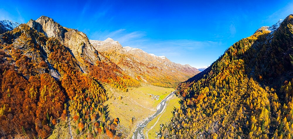 Panoramic aerial view of Val Bodengo during autumn, Valchiavenna, Valtellina, Lombardy, Italy, Europe - 1269-693