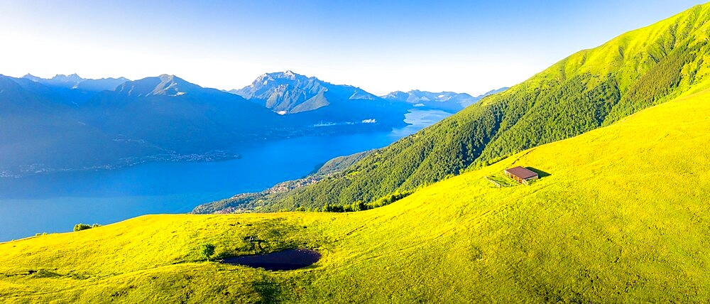Aerial view of high pasture above Lake Como, Musso, Lake Como, Lombardy, Italian Lakes, Italy, Europe - 1269-700