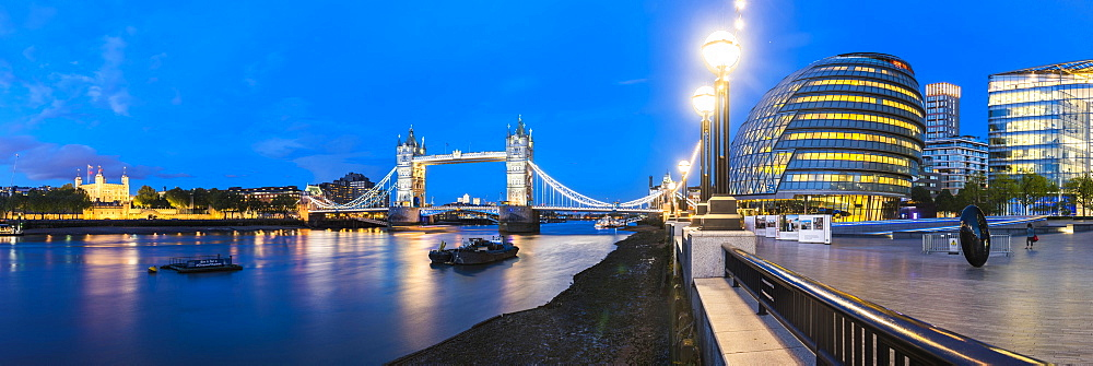 Tower Bridge, Tower of London and City Hall at night, Southwark, London, England, United Kingdom, Europe