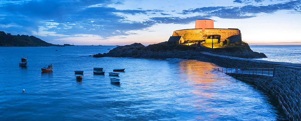 Fort Grey (Cup and Saucer) at night, Guernsey, Channel Islands, United Kingdom, Europe