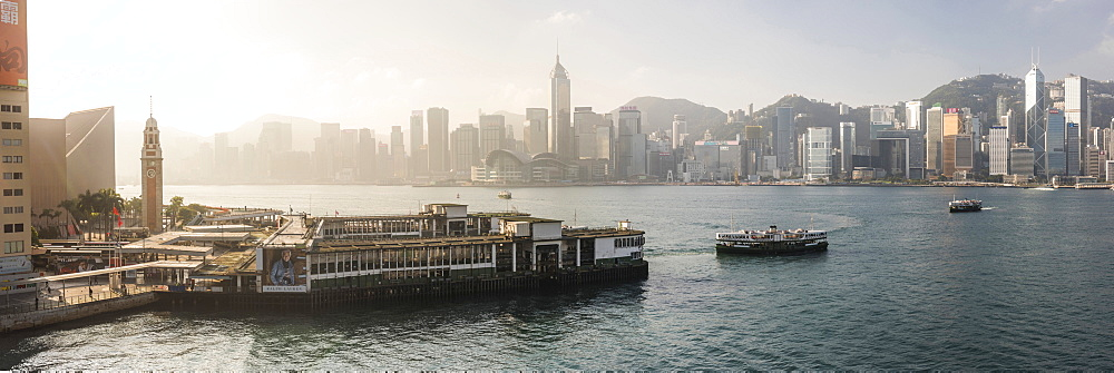 Star Ferry with Hong Kong Island behind, seen from Kowloon, Hong Kong, China, Asia - 1272-244