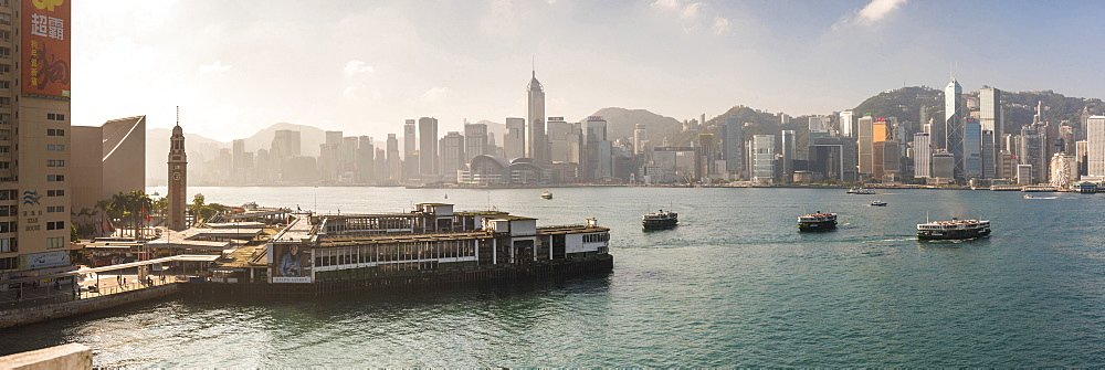 Star Ferry with Hong Kong Island behind, seen from Kowloon, Hong Kong, China, Asia - 1272-270