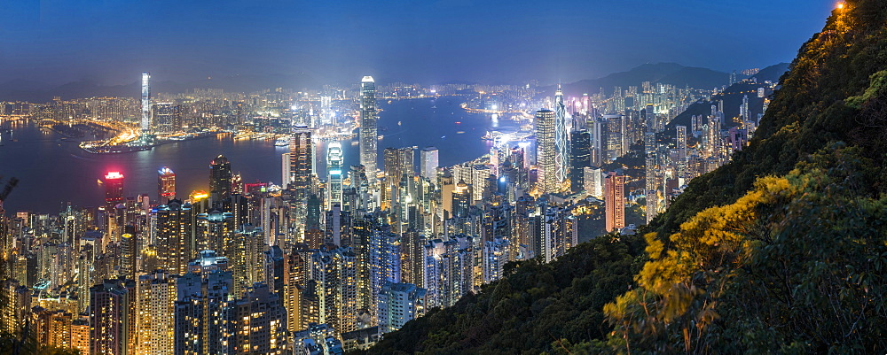 View over Hong Kong Island, Victoria Harbour and Kowloon at night, seen from Victoria Peak, Hong Kong, China, Asia - 1272-283