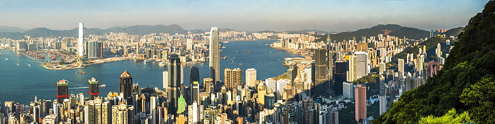 View across Victoria Harbour, from Hong Kong Island to Kowloon, seen from Victoria Peak, Hong Kong, China, Asia - 1272-289