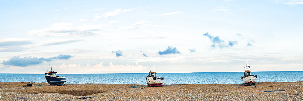 Fishing boat on Dungeness Beach, Kent, England