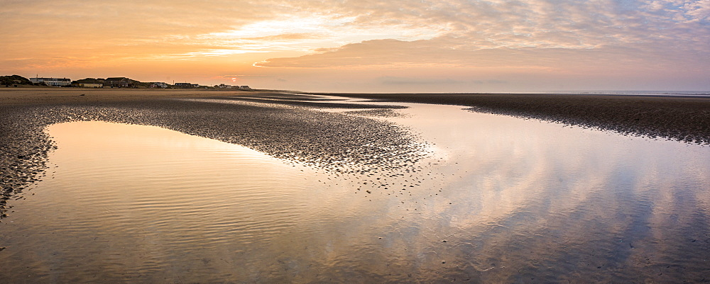 Camber Sands Beach at sunrise, East Sussex, England, United Kingdom, Europe