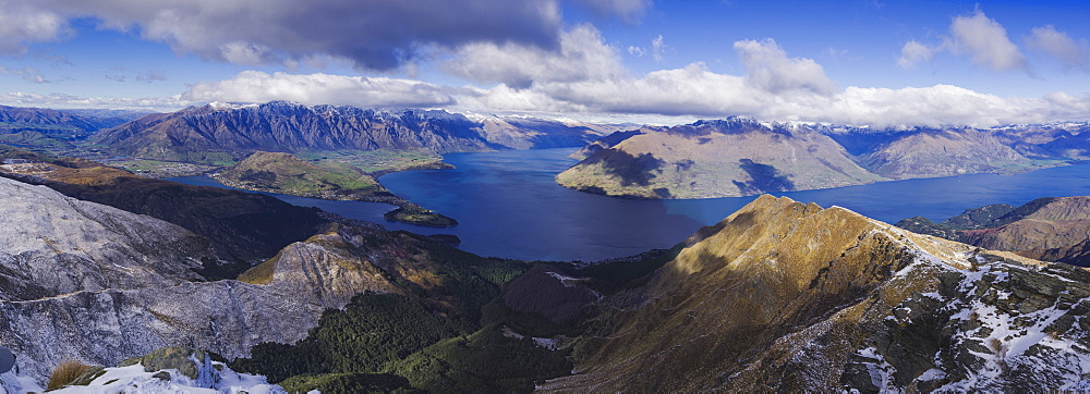 Panoramic view of the Lake Wakatipu near Queenstown, from the Ben Lomond trail peak, Otago, South Island, New Zealand, Pacific