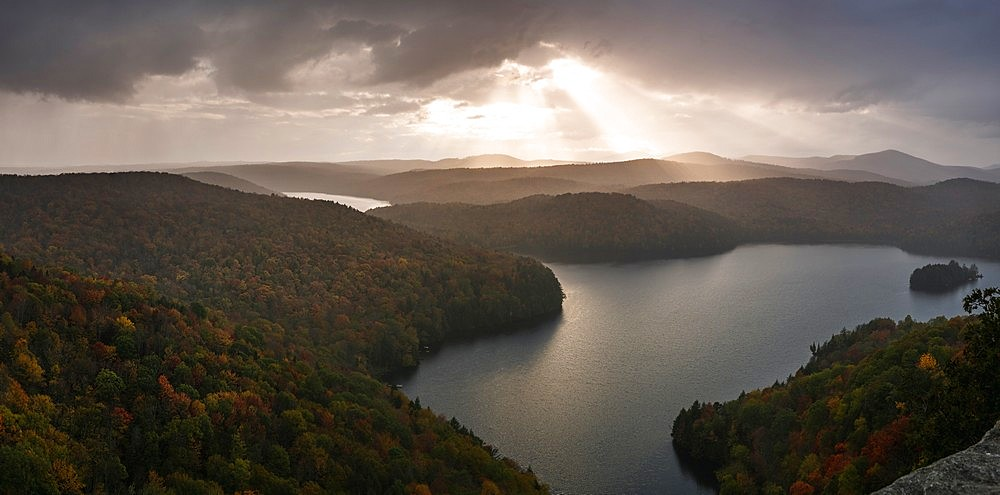 Sunset view of Nichols pond from the Nichols ledge, Vermont in the fall season - 1275-125