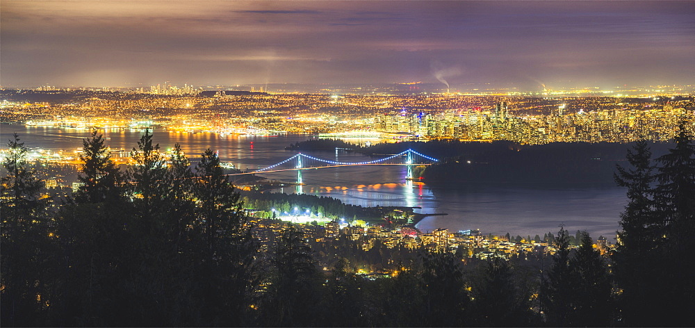 Vancouver city skyline panoramic view at night, Vancouver, British Columbia, Canada, North America