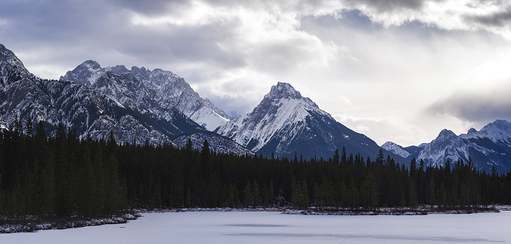 Panoramic winter landscape of the Canadian Rocky Mountains at the Lower Kananaskis Lake, Alberta, Canada, North America - 1275-61