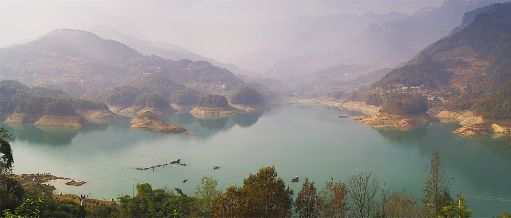 Panorama of Shiqiao Lake of the Wulong Karst geological park, UNESCO World Heritage Site, Wulong county, Chongqing, China, Asia - 1275-68