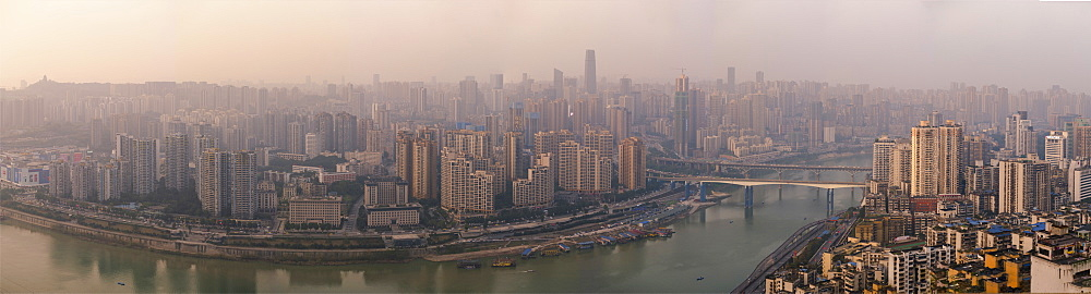 Chongqing city skyline panorama, with Jialing River, Jiangbei CBD in the view, Chongqing, China, Asia