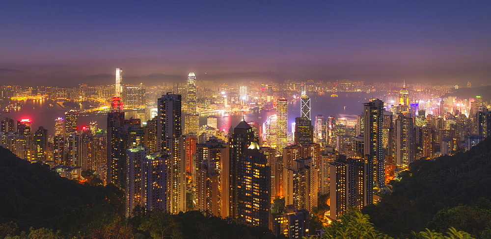 Hong Kong city skyline at night, showing the Central and Kowloon area, viewed from Victoria Peak, Hong Kong, China, Asia - 1275-75