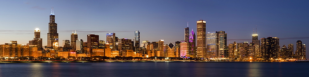 Panoramic Chicago Skyline at Sunset