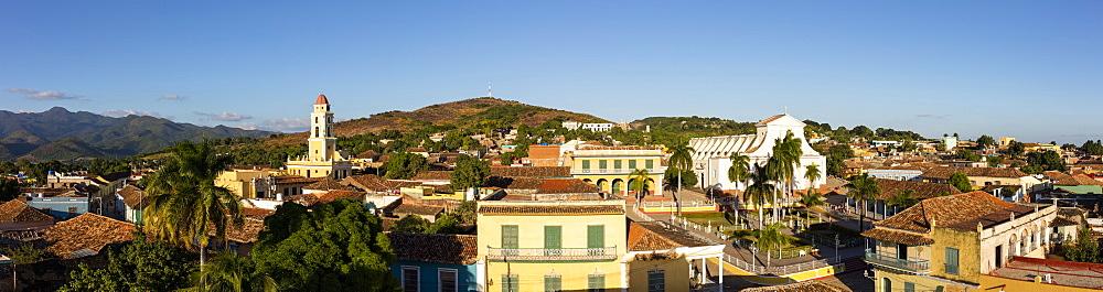 Panoramic view of Plaza Mayor, Trinidad, UNESCO World Heritage Site, Sancti Spiritus, Cuba, West Indies, Caribbean, Central America - 1284-177