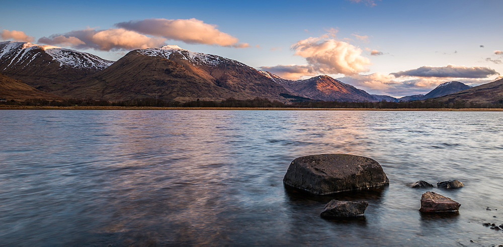 Beinn Eunaich and the northeastern end of Loch Awe at sunrise, Argyll and Bute, Scotland, United Kingdom, Europe