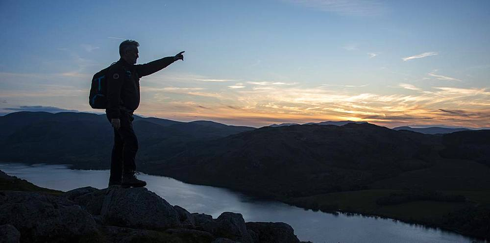 Looking over Ullswater from the summit of Hallin Fell at sunset, Lake District National Park, UNESCO World Heritage Site, Cumbria, England, United Kingdom, Europe