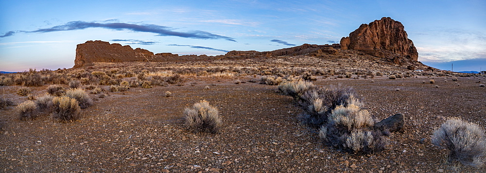 Sagebrush and a large rock formation before sunrise in the desert, Oregon, United States of America, North America - 1289-11