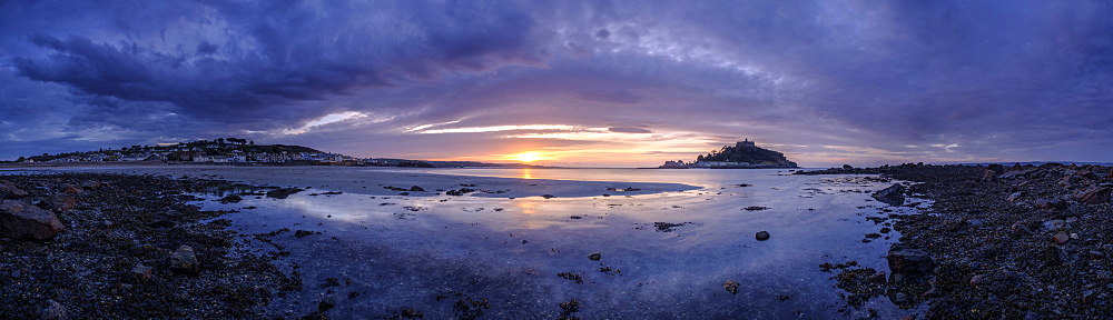 Winter dawn panorama of St. Michael's Mount and Marazion, Cornwall, England, United Kingdom, Europe