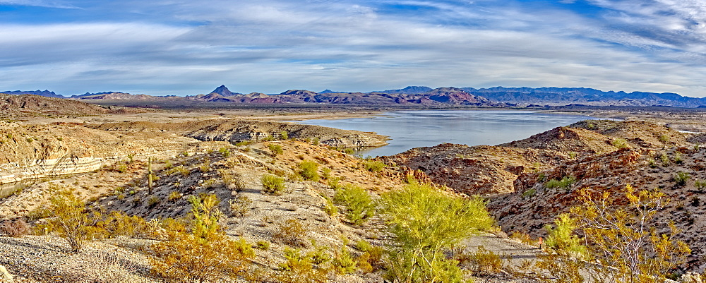 Alamo Lake with the Arrastra Mountain Wilderness in the distance, Arizona, United States of America, North America