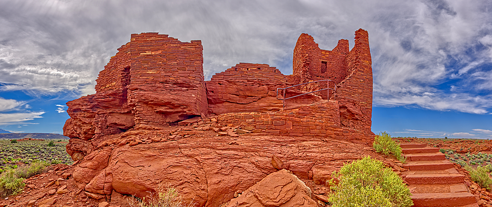 A low angle exterior closeup view of the Wukoki Pueblo at the Wupatki National Monument in Arizona.