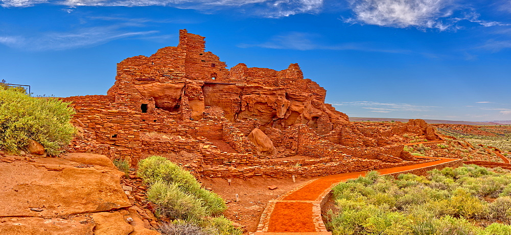 Closeup panorama of the Wupatki Pueblo Ruins at the Wupatki National Monument in Arizona.