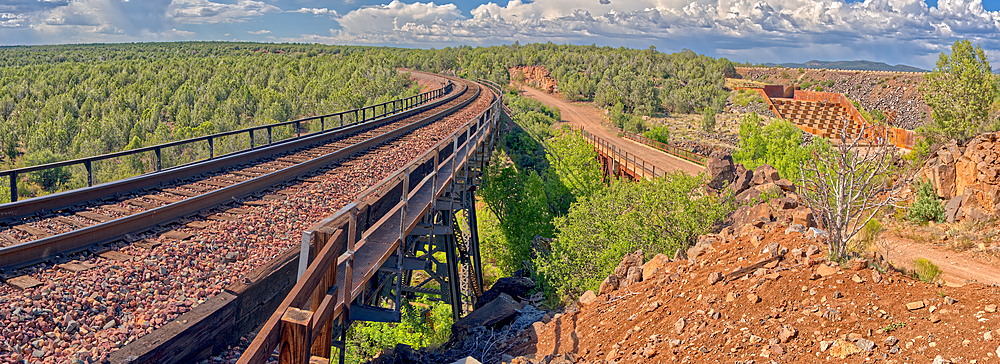 Super Panorama of a spillway and railroad bridge over Hell's Canyon near Drake Arizona.