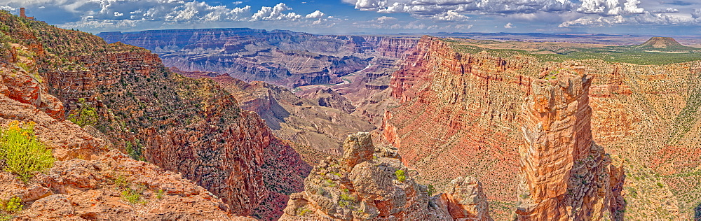 Grand Canyon with the historic Watch Tower on the far left, managed by the National Park Service, Grand Canyon National Park, UNESCO World Heritage Site, Arizona, United States of America, North America - 1311-139