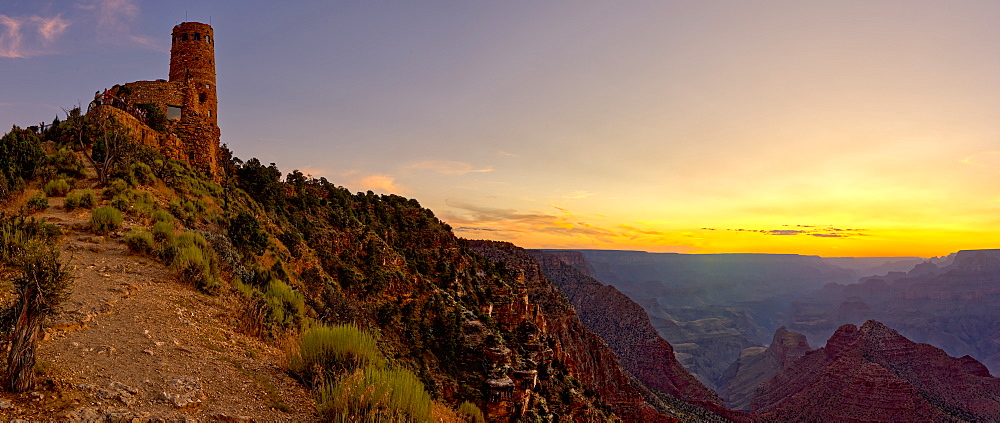 Watch Tower on the South Rim of the Grand Canyon at sundown, Grand Canyon National Park, UNESCO World Heritage Site, Arizona, United States of America, North America - 1311-159