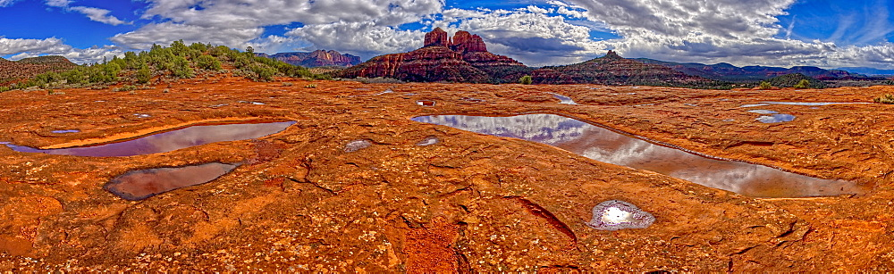 Cathedral Rock viewed from a slick sandstone plateau, composed of 21 photos stitched into a super panorama, Sedona, Arizona, United States of America, North America