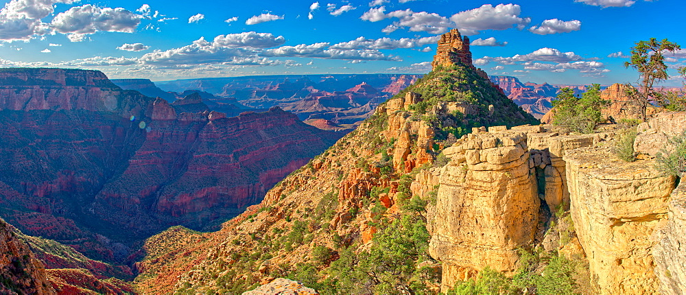 HDR composite of Sinking Ship rock on the South Rim of the Grand Canyon, view from a cliff just below the canyon rim, Grand Canyon National Park, UNESCO World Heritage Site, Arizona, United States of America, North America - 1311-166