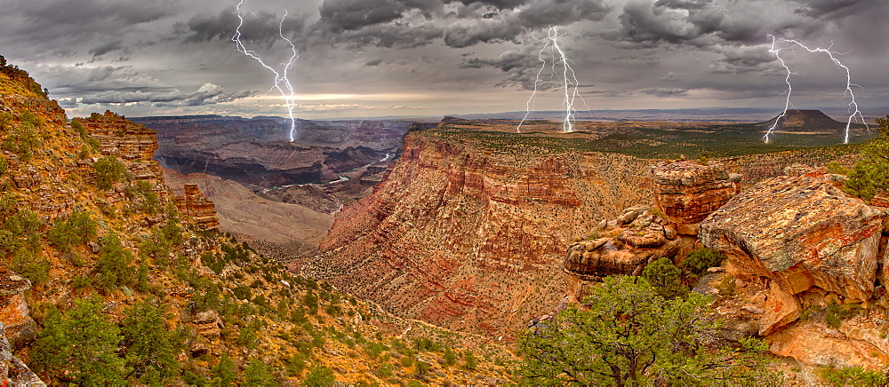 Grand Canyon from the Desert View Trail a mile east of the historic Watch Tower with a lightning storm rolling into the area, Grand Canyon National Park, UNESCO World Heritage Site, Arizona, United States of America, North America