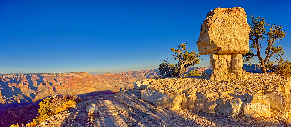 A northeast panorama of the Grand Canyon from Shoshone Point at sundown, with Shoshone Rock on the right, Grand Canyon National Park, UNESCO World Heritage Site, Arizona, United States of America, North America