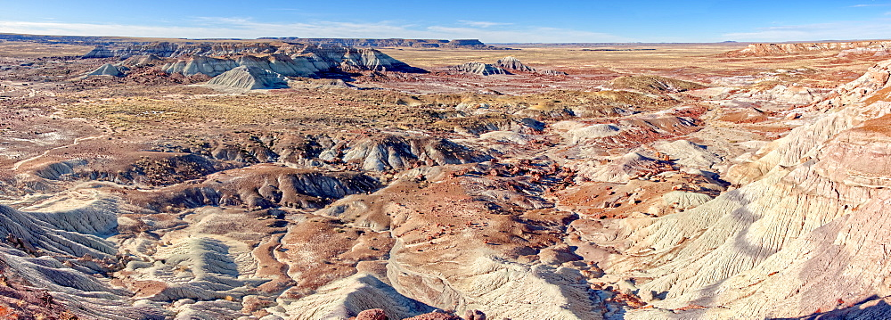 Panorama view of the Petrified Forest National Park from the First Forest Trail.