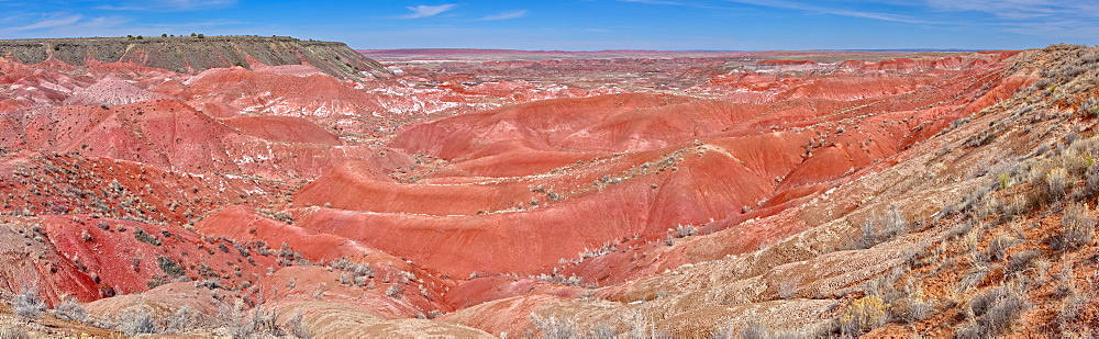 Panorama view of the Painted Desert from Tiponi Point in Petrified Forest National Park, Arizona, United States of America, North America