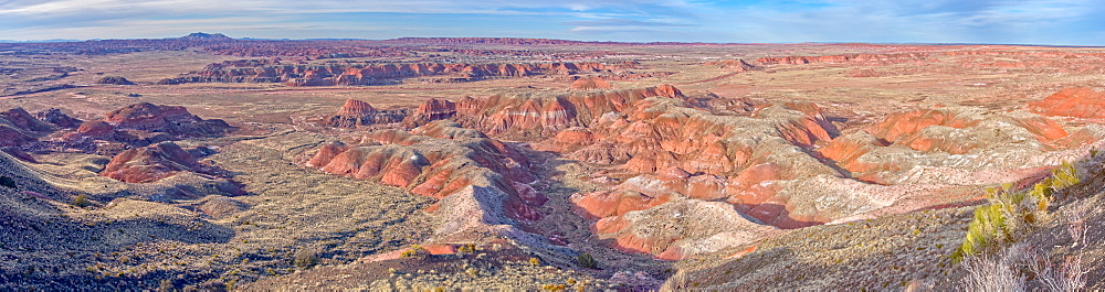 Panorama view of the Painted Desert from Chinde Point in Petrified Forest National Park, Arizona, United States of America, North America