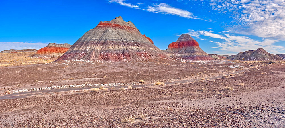 Huge formations of Bentonite Clay called the Teepees in the Petrified Forest National Park, Arizona, United States of America, North America - 1311-213