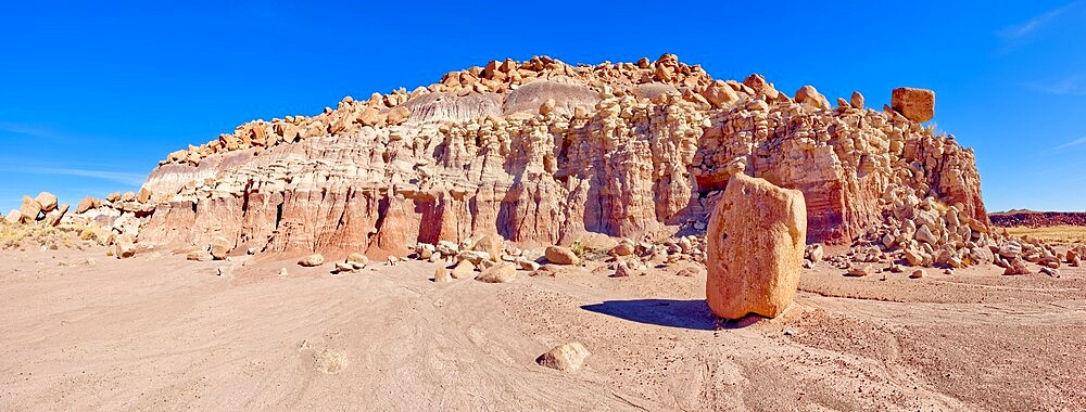 Panorama of a ridge in the Devil's Playground of crumbling hoodoos, Petrified Forest National Park, Arizona, United States of America, North America - 1311-288