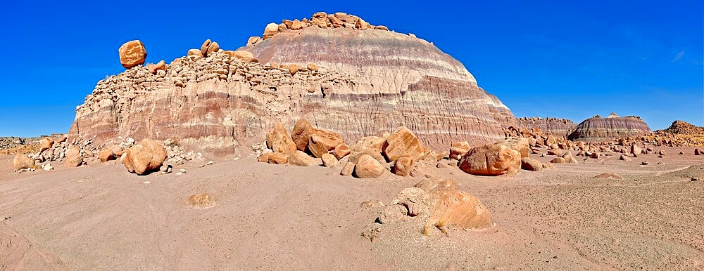Panorama of a ridge in the Devil's Playground of crumbling hoodoos, Petrified Forest National Park, Arizona, United States of America, North America - 1311-290