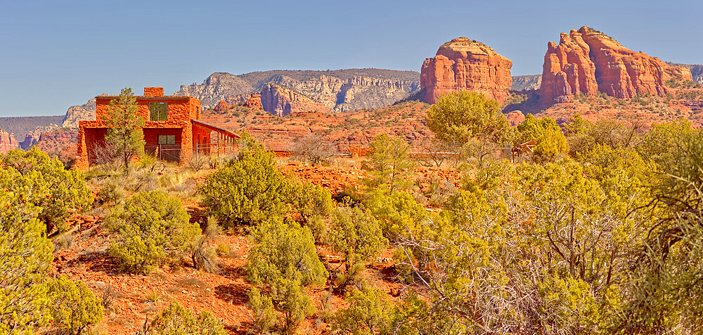 House of Apache Fires in Red Rock State Park Sedona Arizona with Cathedral Rock in the background. - 1311-312