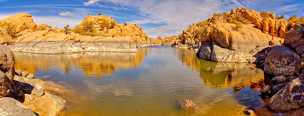 Rocky lagoon in Watson Lake Arizona along Lakeshore Trail. Gray rock shows how much water volume was lost due to the drought. - 1311-324