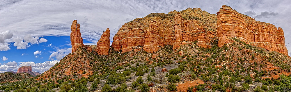 Panorama of Courthouse Butte, Rabbit Ears, and Lee Mountain in Sedona, composed of eight photos, Arizona, United States of America, North America - 1311-36