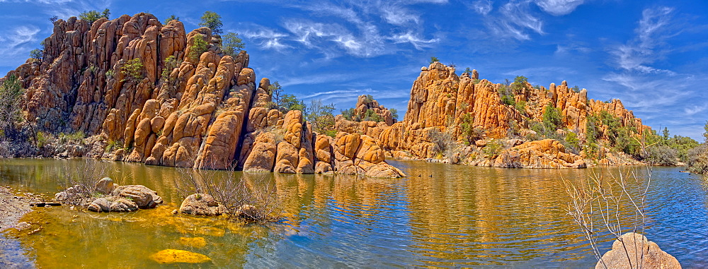 Panorama of a lagoon along the East Lake Shore Trail at Watson Lake in Prescott, Arizona, United States of America, North America