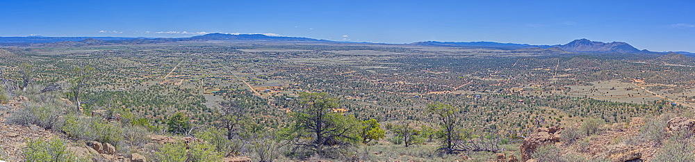 A super panorama of Chino Valley viewed from the summit of Sullivan Butte, Arizona, United States of America, North America