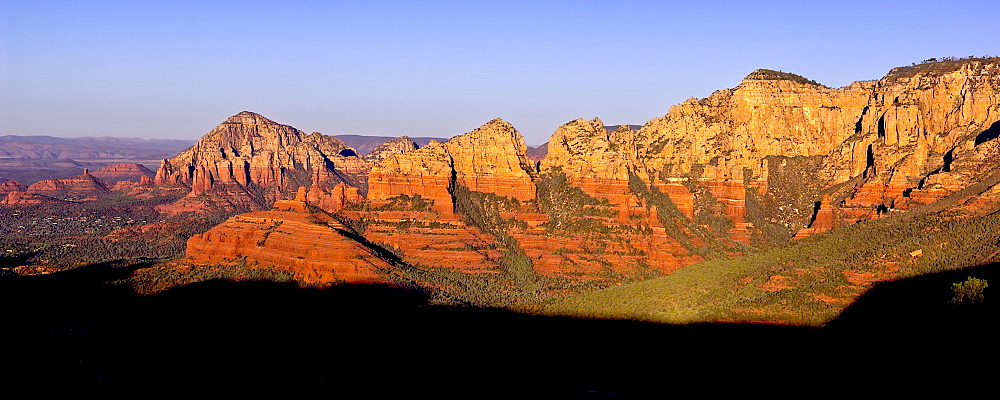 Early morning view of Sedona from Schnebly Hill Vista, Capitol Butte on the left and Wilson Mountain on the right, Sedona, Arizona, United States of America, North America
