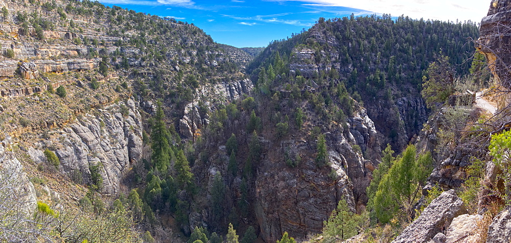 Panorama of Walnut Canyon, once inhabited by the Sinagua People, located east of Flagstaff, Arizona, United States of America, North America